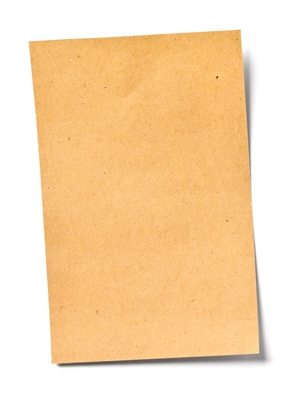 close up of a vintage note paper on white background photo