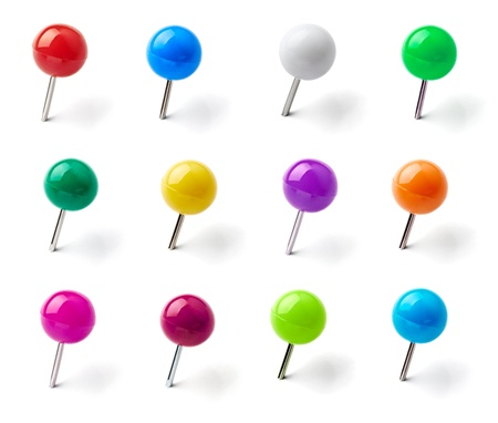 thumb tack: collection of various pushpins on white background. each one is shot separately Stock Photo