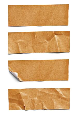 tear duct: collection of  various adhesive tape pieces on  white background. each one is shot separately