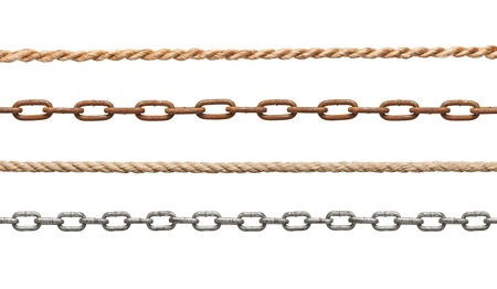 collection of  chains and ropes on white background  each one is in full cameras resolution photo