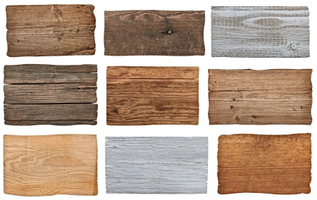 arrow wood: collection of various  empty wooden sign on white background. each one is shot separately