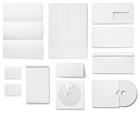 collection of various  blank white paper on white background. each one is shot separately Stock Photo - 17284428