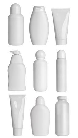 champu: colecci�n de varios contenedores de belleza higiene en el fondo blanco. cada uno es asesinado por separado Foto de archivo