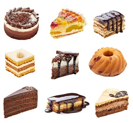 fancy cake: collection of  various cakes on white background. each one is shot separately