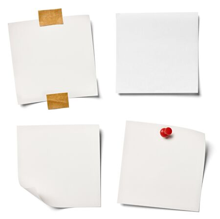 collection of  various white note papers on white background. each one is shot separately photo