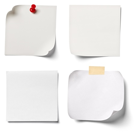 paper pin: collection of  various white note papers on white background. each one is shot separately
