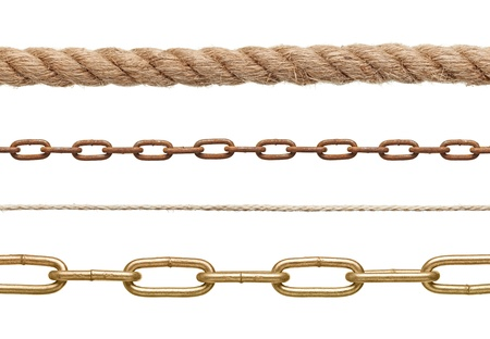 collection of  chains and ropes on white background. each one is in full cameras resolution Stock Photo - 17534795
