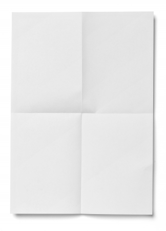 crease: close up of  a crumpled unfolded piece of paper on white background