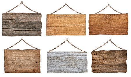 wood plaque: collection of  various wooden signs with chain on white background  each one is shot separately