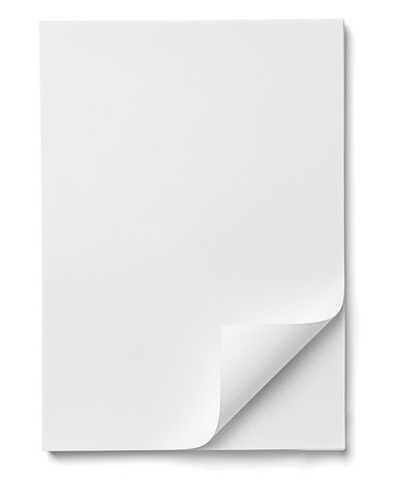 page up: close up of stack of papers with curl on white background