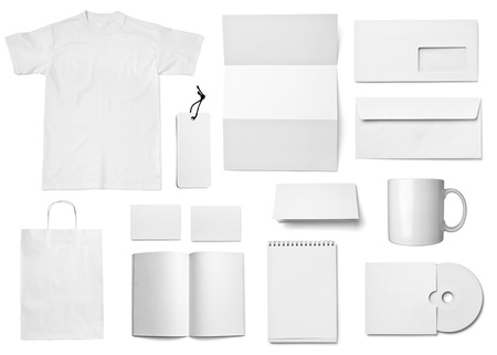 workpiece: collection of various  blank white paper on white background. each one is shot separately Stock Photo