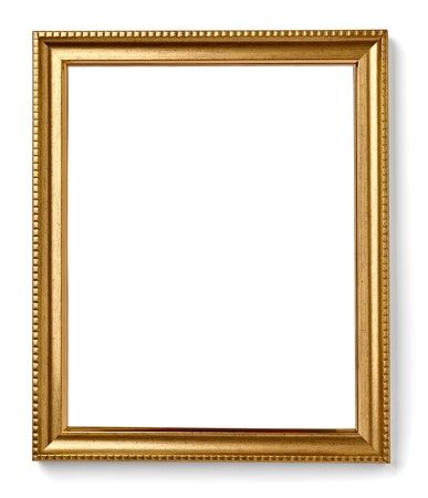 gold frame: wooden frame for painting or picture on white background with clipping path