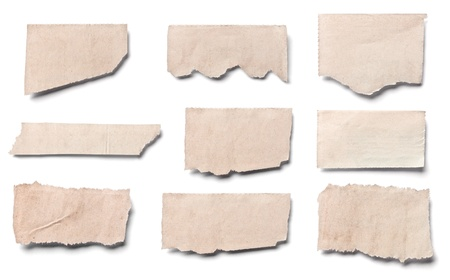 blank newspaper: collection of  white ripped pieces of news paper on on white background  each one is shot separately