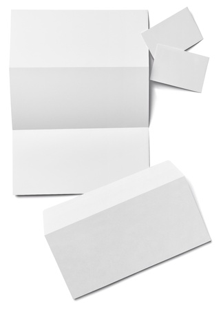 workpiece: collection of various  blank white paper on white background
