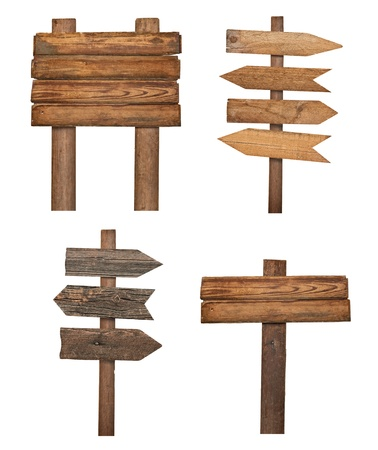 signpost: collection of various  empty wooden sign on white background. each one is shot separately