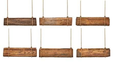 collection of vaus empty wooden signs hanging on a rope on white background. each one is shot separately Stock Photo - 17814805