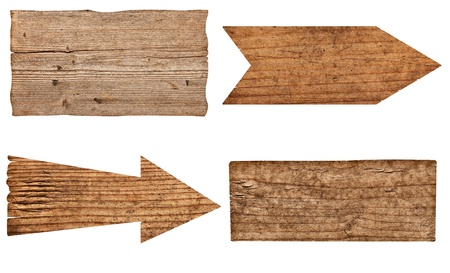 rough road: collection of various  empty wooden sign on white background. each one is shot separately