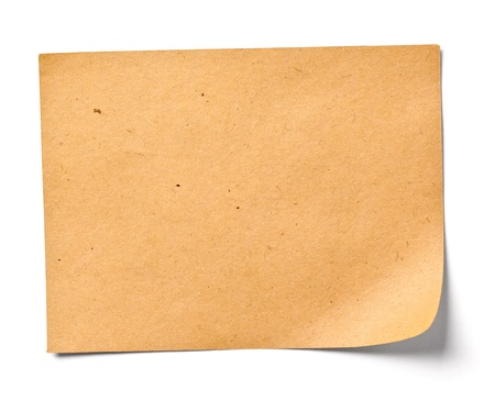 note card: close up of a vintage note paper on white background