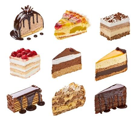 trozo de pastel: colecci�n de pasteles diferentes sobre fondo blanco. cada uno es asesinado por separado