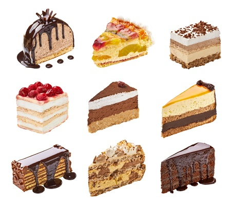 mousse: collection of  various cakes on white background. each one is shot separately