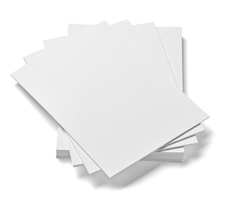 close up of stack of papers on white background  Stock Photo - 18119180
