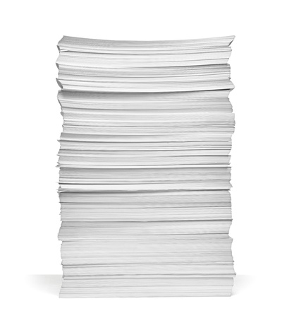 pile of paper: close up of stack of papers on white background