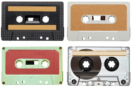 collection of various vintage audio tapes on white background. each one is shot separately photo