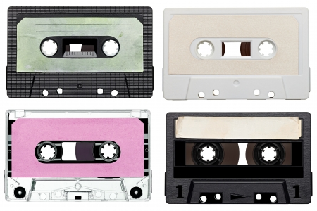 music player: collection of various vintage audio tapes on white background. each one is shot separately