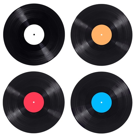 single songs: collection of  variousvynil on white background. each one is shot separately