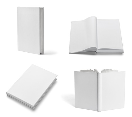 text books: collection of various  blank white  books on white background. each one is shot separately