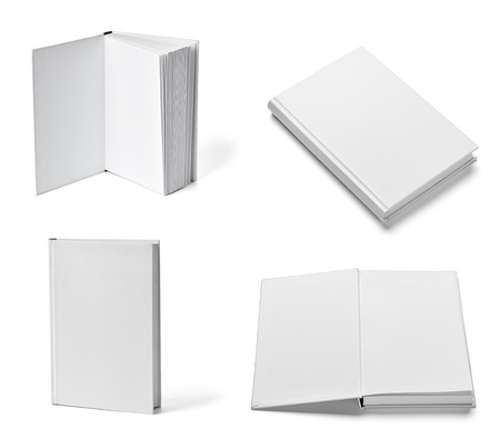 blank book cover: collection of various  blank white  books on white background. each one is shot separately
