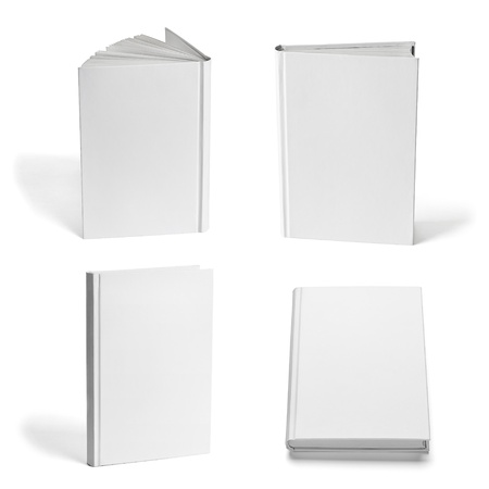 hard cover: collection of various  blank white  books on white background. each one is shot separately