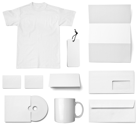 brand identity: collection of various  blank white paper on white background. each one is shot separately Stock Photo