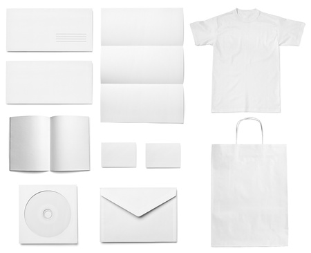 leaflet design: collection of various  blank white paper on white background. each one is shot separately Stock Photo