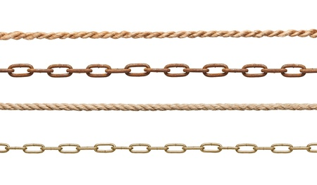 collection of  chains and ropes on white background. each one is in full cameras resolution photo