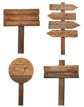 group direction: collection of various  empty wooden sign on white background. each one is shot separately