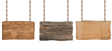 collection of  various wooden signs with chain on white background. each one is shot separately photo
