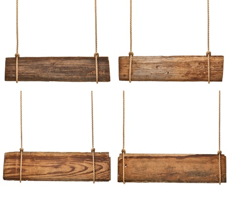 collection of vaus empty wooden signs hanging on a rope on white background. each one is shot separately Stock Photo - 18282311