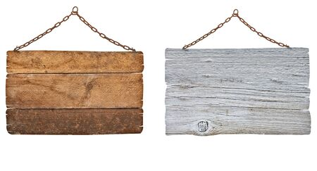 wooden sign: collection of  various wooden signs with chain on white background. each one is shot separately