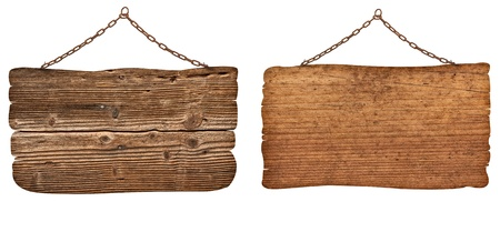 wooden signboard: collection of  various wooden signs with chain on white background. each one is shot separately