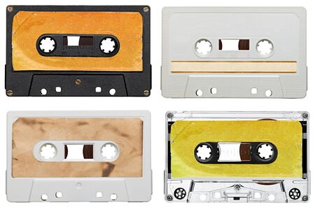audio cassette: collection of various vintage audio tapes on white background  each one is shot separately