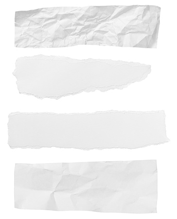 torn edge: collection of  white ripped pieces of paper on white background  each one is shot separately