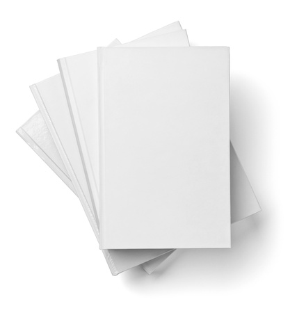 publication: collection of various  blank white  books on white background with clipping path