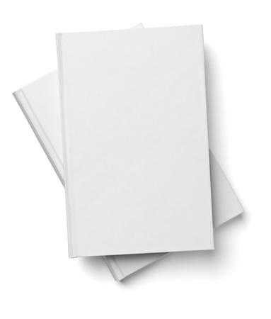 collection of various  blank white  books on white background with clipping path Stock Photo - 18727519