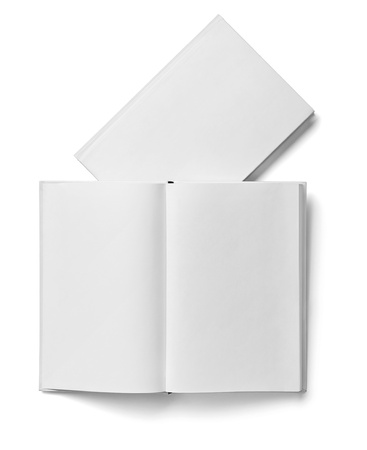collection of various  blank white  books on white background with clipping path Stock Photo - 18727527