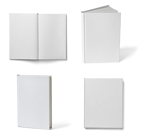 hard cover: collection of various books on white background  each one is shot separately Stock Photo