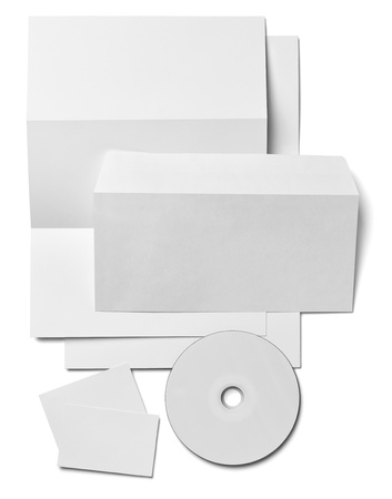 corporate identity template: collection of various  blank white paper on white background