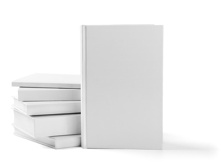 collection of various  blank white  books on white background with clipping path Stock Photo - 18929725