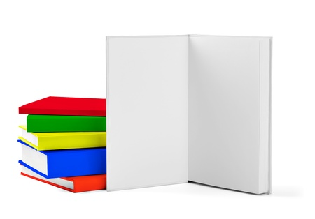 collection of various  colorful  books on white background with clipping path Stock Photo - 18929731