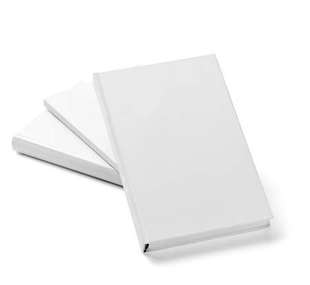 collection of various  blank white  books on white background with clipping path Stock Photo - 18929727